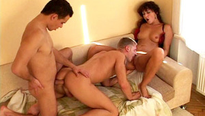 Bisexual sex session with a attractive skank for these lucky dudes