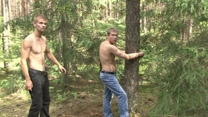 Hot young gay gets a delightful fetish paddling from lord when he was tied up nude at the tree during bdsm sex.