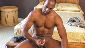 black daddy Colton relaxes after work by pleasuring himself