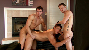 The two males and the young are working for the next scene.