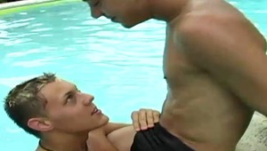 Aiden and Donavan, 2 horny pretty twinks wanna suck each other's meat on the pool