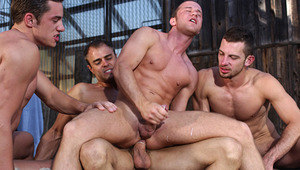 charming dudes begin a torrid sex scene under the trees outside!