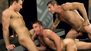 Hot dudes are pounding asses 'til all 3 shoot enormous loads