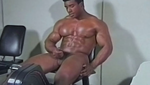charming ebony homo getting his humongous penis hard while exercising