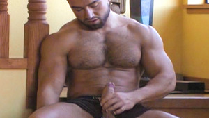 horny hairy man with big muscles beats his think manly dong