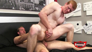 Spencer Todd takes a ride on Vinnie Steel's hard penis. The Red Rocket isn't used to being a bottom, and his moans fill the studio. Vinnie's dong fills up Spencer's hole, hitting the bottom's fine spot. When it ends, Spencer's torso is drenched with sperm