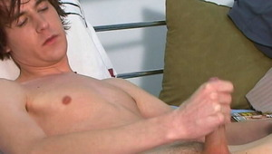 Amazingly brunette gay Ashley stripping jeans and masturbating his enormous pecker