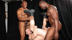 Ryan gets poked by two huge, unforgiving black power-tops