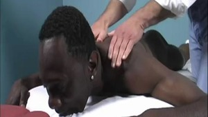 Troy was having a tough week so he went in for a full body massage. Ethan wanted to help our buddy out with his tension. He didn't realize what Troy really needed was a juicy dick blowing. Watch Troy troll his ebony pole and catch a couple nibbles from hi