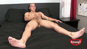 Newbie JJ Masters takes it off in the BSB studio! He used to wrestle and the 20-year-old still has a tight, compact, body. JJ's tool is hefty and yummy. After a few strokes, it's ready to play. When his cum shoots out, it coats his muscled thigh!