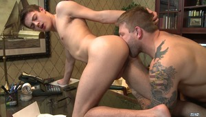 Hunter Page finds himself in an uncomfortable situation when school administrator Colby Jansen confronts him with some racy images taken in the school dorms! Lucky for Hunter, Colby is hot and horny and totally open to working something out.  Hot sucking,