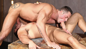 Erik Rhodes and Marc Dylan take turns swallowing each other off