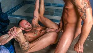 Derek moans in ecstasy as CJ's tongue & schlong loosen his hole