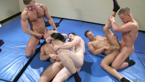 Over at the Police Academy Liam Magnuson has a boner because Connor Kline & Johnny Ryder are simulating a fight. Trainer Rocco Reed calls Liam out and suggests they go around together.  Before long everyone is hard, naked and fucking!