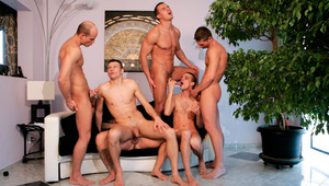 six horny guys have a steamy hot orgy of swallowing and fucking