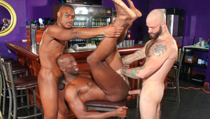 Bartender joins two fuck buddies for a random public hook-up