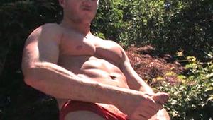 Poolside jerk off with horny Aussie guy Brendan Austen