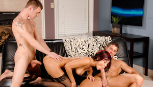 Ruby & Joey keep Cody occupied throughout in this threesome.