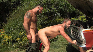 Hairy hunky bearded mechanics Spencer Reed & Dirk Caber fuck
