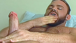 Handsome hairy man gets a hard on while watching a hot porn
