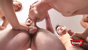 Tristan gets on his knees and has to take it from all the guys. The males love cumming all over his face.