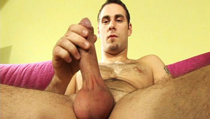 Amazing man with hot body masturbates 'til his balls explode