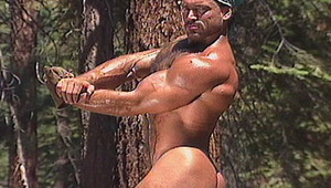 massive muscled gay working in the woods showing his hot body