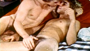 attractive boyfriends having a sleepover enjoy anal fuck in a bed!