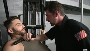 Security Guard Andrew Stark catches Tommy Defendi getting blown in a warehouse and rushes into to put a stop to the unlawful activities.  Andrew is a little turned on and gives Tommy an opportunity to finish what he started.