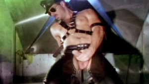 Horny leatherman strokes his massive tool to reach climax