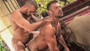 Bruno shows a mix of pain with fun, as Damien fucks his booty