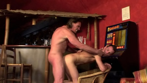 pretty dark haired young gets his behind filled by a mature dude!