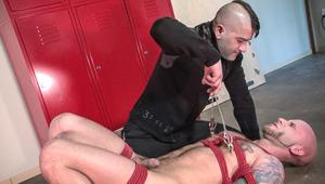 Bound hotty Drake Jaden gets the hard shaft from Tony Buff