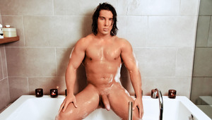 Straight jock Lukas takes a hot shower & rubs his hard penis