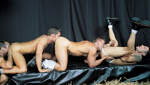 Super hung stud feeds the eager holes of his 2 horny friends