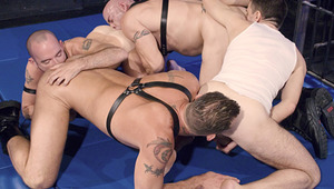 four males create a chain of ass-eating, cock swallowing sex action