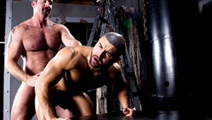 muscular men satisfy each other with sixty nine and anal sex