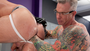 Tibor Wolfe gets punch drilled by Cory Jay in the locker room