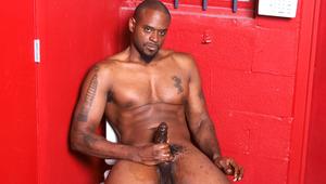 Hot and horny ebony man wanks his big black cock off