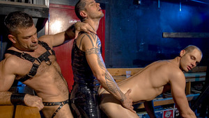 Epoc (Logan) rides a slave while being screwed by the master