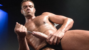 Pierced and hairy stallion Lance Navarro sounds his monstrous dong