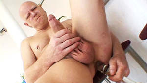 DILF guy in humongous dildos anal toying fun in the kitchen