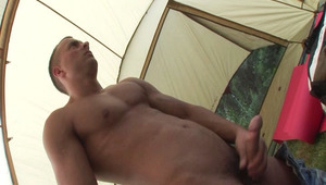 Lonely Jason in a tent takes some time to wank his schlong off