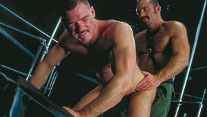 Tony invades Alex as Andreas stuffs his mouth with meat