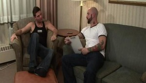 """Sam is opening a new sex club, and Etienne is looking for a management position. Etienne figures with his sexual talents, he can start right at the top. Sam decides he needs to see some proof, starting with an """"oral examination"""" and working thei"""