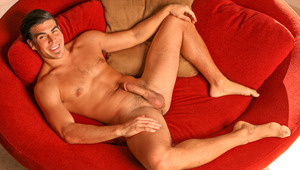 Damian spreads his legs, mounts his hands & fondles his balls