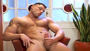 Hot man loves posing and playing with his muscular body