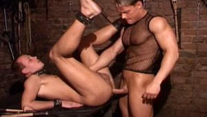 stud in leather uses a bottom male to satisfy his impulses