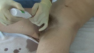 On doctors order, young need to give a pee sample after lusty meat sterilization.