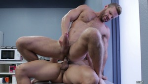 Landon Conrad gets fucked by Topher Di Maggio in part 3 of MEN.COM series Gaywatch. The action takes place in the breakroom where the hunky lifeguards get hard and have to do it right there.